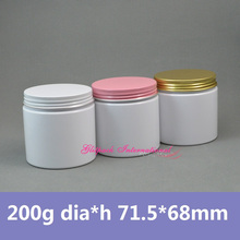 30pcs/lot 200g White Wall Straight Sized wholesale cosmetic jars 7oz plastic makeup containers PET natural cosmetic packaging