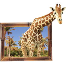 3D Giraffe Animal Wall Sticker PVC backdrop Decor emulation Home Decoration room Decals Wall Art Stickers waterproof poster
