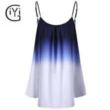 GIYI Plus Size 5xl 4xl Women Clothing Ombre Print Cami Top Tie Dye Camisole Summer 2017 Oversize Sleeveless Beach Vest Ladies