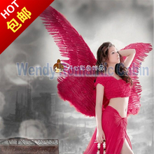 Red Costume Adult's large white angel feather wings Cosplay photography Game Display fashion show props EMS free shipping