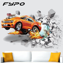 3D PVC Wall Stickers Creative Basketball Football Car Background Wall For Bedroom Living Room Fridge Children Wall Sticker Decal(China)