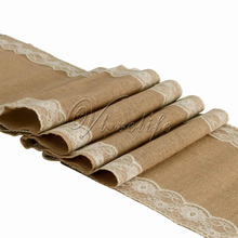 30cmx275cm Ivory Natural Vintage Burlap Lace Hessian Table Runner Wedding Party Decor Free Shipping