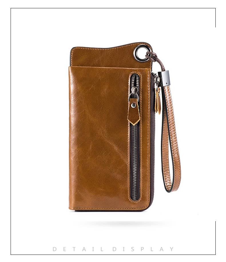 LUENSRO Wallet Leather Vintage Wallets Men Genuine Leather Wallet Zipper Card Holder Purse Long Coin Purse Money For iPhone7S (12)