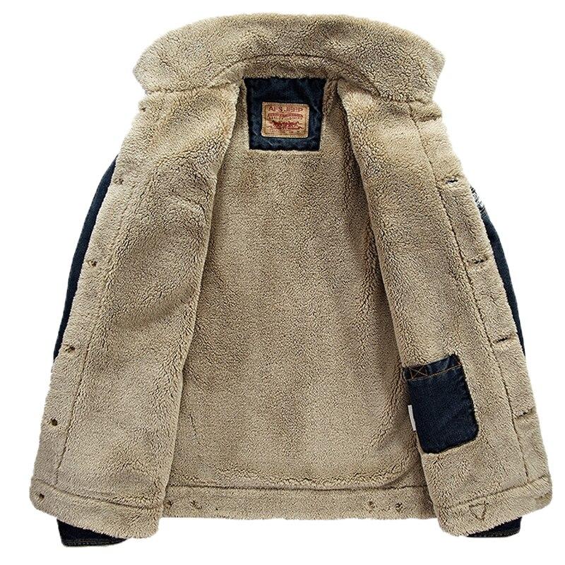 Men casual retro denim jackets coat warm winter fur regular fit jeans jackets men sherpa lined trucker denim bomber jackets 4xl3