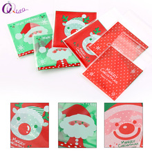 7*7cm ,10*10cm Pattern Self Adhesive DIY Cookie Plastic bags Christmas Candy and Snack Food Packaging Bags(China)