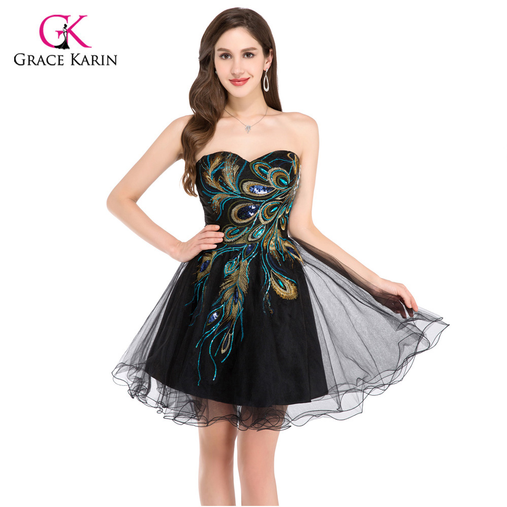 2018 Designer Short Black White Peacock Cocktail Dresses Mini Ball Gown knee length Homecoming Party Dresses Coctail dress 4975