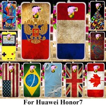 Soft TPU Plastic Phone Cases For Huawei Honor 7 Honor7 5.2 inch Covers UK Russia Flags Hard Soft Silicone Back Cover Shell Skin