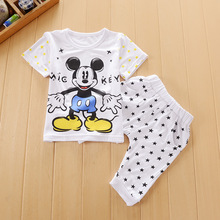 mickey summer Baby Clothing Sets Children Boys Girls Kids Brand Sport Suits Tracksuits Cotton Short + Pants 2pcs 6month-3yrs