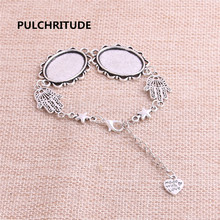 PULCHRITUDE 3pcs 22cm Alloy Antique Silver Chain Bracelet Hand Charm Round Cabochon base Setting Fit 25*18mm Women Z0022