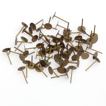 100pcs 12mm Bronze Metal Flat Earring Post Cabochon Holder For Jewelry Making Diy Stud Earring Findings Accessories Wholesale