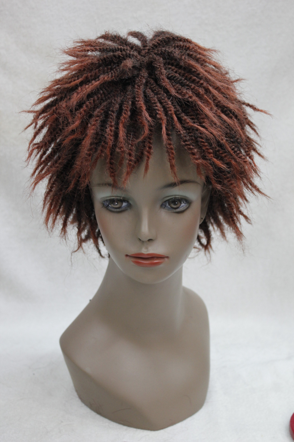 Afro Kinky Curly Short off black and red mixed Wig with Bangs Senegal Havana style full wig<br><br>Aliexpress