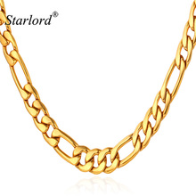 Starlord Trendy Figaro Necklace For Men Jewelry Stainless Steel Gold Color Chains 5MM Fashion Jewelry Figaro Chain N1041K(China)