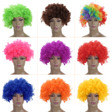 Popular FESTNIGHT Adult 9 Colors Clown Afro Wig Curly Synthetic Hair Halloween Masquerade Cosplay Costume Football Fans Wig(China)