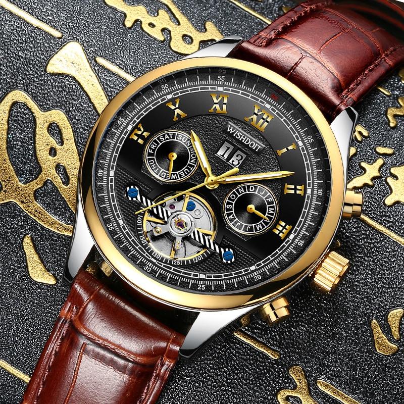 WISHDOIT mens watches top brand luxury Fashion waterproof sports men business automatic mechanical watchs Mens watch Male clock<br>