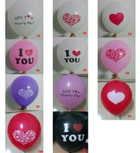 I LOVE YOU printed latex balloons Valentine day gift /Wedding decoration Party supply Helium air balloons 10pc/lot free shipping