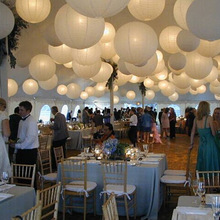 10pcs 16 Inch 40cm White Paper Lanterns Chinese Paper Ball Led Lampion For Wedding Party Event Birthday Ceremony Decoration