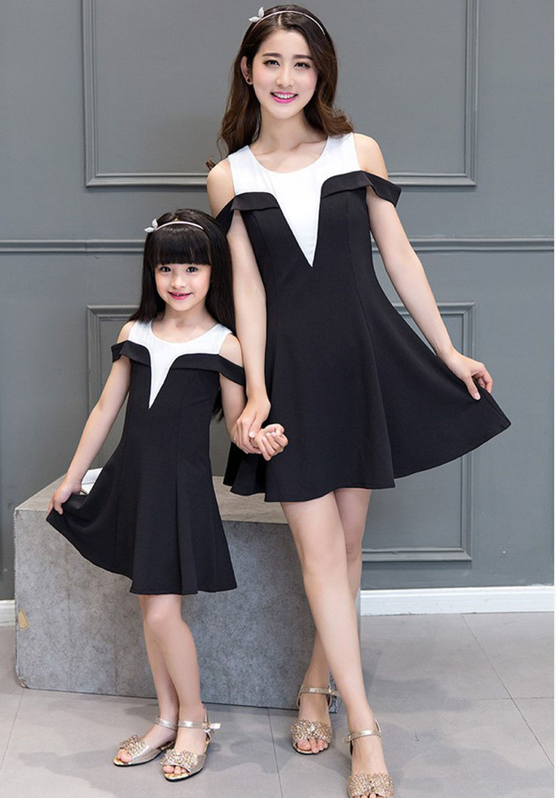 Mother Daughter Strapless Patchwork Dresses Matching Mother And Daughter Black Dress Family Matching Clothes Vestido Mae E Filha<br>