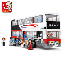 Sluban Luxury Double-Decker Bus 741 Mini Bricks Set Sale Simulated City Series Building Blocks Toys for Children B0335