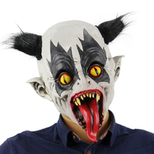Latex Full Head Creepy Bat Clown Mask Toothy Scary Ghost Masks with Black Hair for Halloween Masquerade Costume Party Supplies(China)
