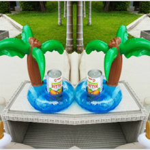4PCS Coconut Palm Tree Party Supply Inflatable Water Floating Cup Holder Drink Coke Stand Summer Swimming Pool Toy Drop Shipping