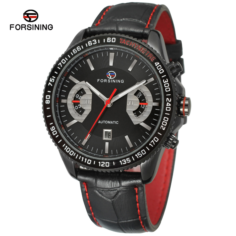 Forsining Mens Watch Automatic Self-wind Movement Genuine Leather Complete Calendar  Luxury Wristwatch Color Black FSG231M3B1<br>