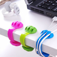 FLOVEME 2PCS Cable Organizer USB Cable MP3 MP4 Line Management 3 Ports Cable Winder Clip Silicone Charger Data Line Organizer(China)