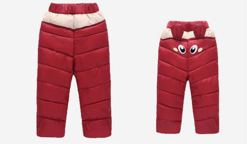 COOTELILI 80-130cm Warm Winter Boys Pants Trousers For Kids Elastic Waist Cotton Thicken Snowsuit Baby Pants Boys Clothes (3)