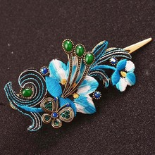 Retro Embroidered Hair Clip Rhinestone Butterfly Exaggerated Large Metal Hair Claw Women Hair Accessories