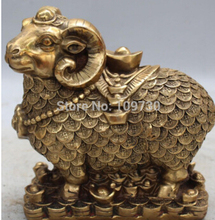 Free Shipping Marked Chinese Bronze FengShui Wealth Money Auspicious Animal Sheep Goat Statue
