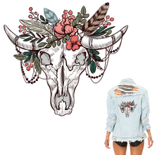 Colife Skull Patches For Clothing Cattle Flower Decoration Patches A-level Washable Ironing Stickers 25*22cm Heat Transfer
