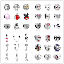 newest free shipping 1pc european silver mickey minnie diy hanging jewelry bead fow women fit Fits pandora Charm Bracelets S006(China)
