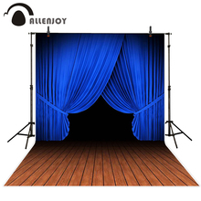 Allenjoy photography backdrop stage dark blue wood floor backgrounds for video original design newborn vinyl cloth fabric(China)