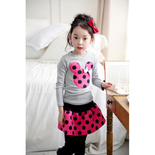 2017 New 4 Color Spring and autumnNew Children Girl's 2PC Sets Skirt Suit Minnie Mouse baby sets dots skirt dots pants kids(China)