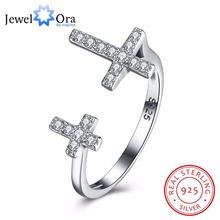 925 Sterling Silver Adjustable Ring Cross Design CZ Fashion Jewelry Party Rings For Women Gift For Christmas(JewelOra RI102655)(China)