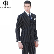 Cajerin Men Clothing England Style Suit Tailor Blazer Suits (Jacket+Pants+Vest) Stripe Slim Fit Formal Groom For Custom Made(China)
