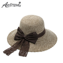 [AETRENDS] Summer Straw Beach Hat Ladies Sun Hats for Women UV Protective Z-2944()