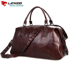 "LEXEB Cow Leather Travel Bag For Men 20"" Hand Luggage Overnight Weekender Duffle Large Brown maletin de viaje(China)"