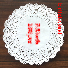 100pcs 9.5inch diameter 24cm white round paper Lace Doilies paper Cake Placemat baking decoration Creative Craft napkins(China)