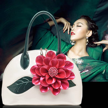 2017 High Quality Pearl patent leather handbag Korean trumpet flowers shell bag shoulder bag Fashion Big Bags For Women Totes(China)