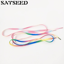 Shoelaces For Sneakers Sport Shoes 8mm Wide Rainbow Red Yellow Blue Green Colorful Laces Flat 100cm 120cm 140cm New(China)