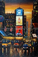 100% hand painted Times Square Sunset New York City Street Manhattan Shops Taxi Oil Painting free shipping High quality