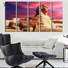 5 Panel Canvas Art Egyptian Sphinx Home Decor Wall Painting art Cairo Landscape Modern Paintings for living room wall No Frame(China)