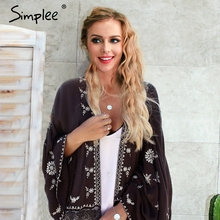 Simplee Summer boho floral print chiffon blouse Women loose batwing sleeve kimoo blouse shirt Beach vacation black soft blusas
