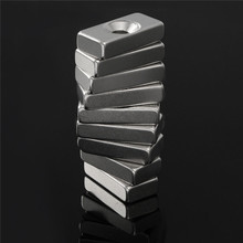 20pcs 20 x 10 x 5mm Super Strong Block Magnets Hole 4mm Rare Earth Neodymium N50 Powerful Be careful fragile and Clip hand(China)