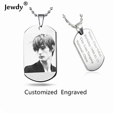 Jewdy DIY customized letter photo printed Dog Tags for Men Military Army Style Necklace For Women baby men personal gift(China)