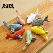 Grass Carp Ceramic Door Knob Children Room Furniture Handle Accessories Cabinet Drawer Cupboard Pulls Kitchen Handles