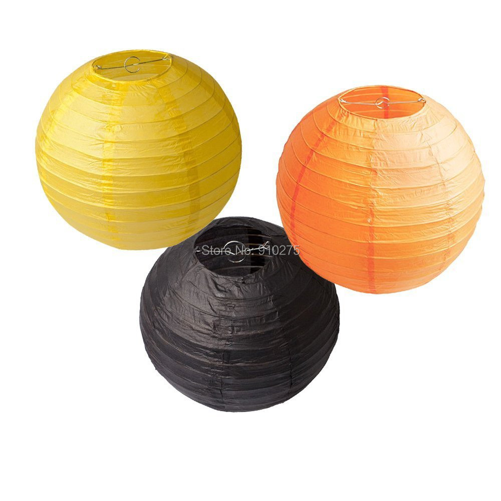 Set of 6 mixed 2 sizes orange yellow black chinese paper lantern set of 6 mixed 2 sizes orange yellow black chinese paper lantern lamp shade for wedding birthday party festival event decoration in lanterns from home aloadofball Gallery