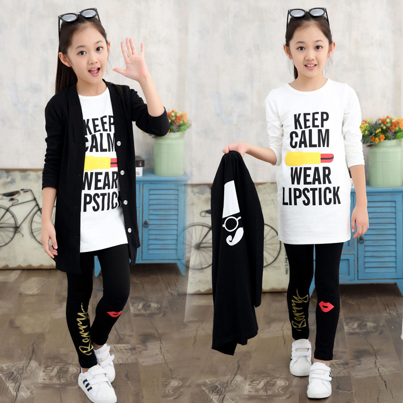 Girls Clothing Sets Cotton Cardigans &amp; T-Shirts &amp; Leggings 3Pcs Spring Autumn Children Outerwear Girls Tees Kids Outfits Pants<br>