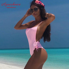 Buy New Sexy One Piece Swimsuit Women 2019 Backless Swimwear Bandage Monokini Swimsuit Push Bathing Suit Beach Wear Swimming Suit