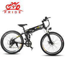 "Pride Electric bike 26"" Aluminum Folding electric Bicycle 350W Motor 48V10.4A Lithium Battery 21 Speed Snow & Mountain  e -bike"